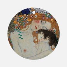 Mother and Child by Gustav Klimt Ornament (Round)