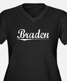 Braden, Vintage Women's Plus Size V-Neck Dark T-Sh