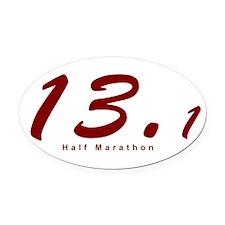 Red Half Marathon 13.1 Oval Car Magnet
