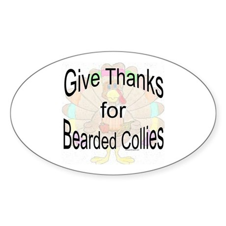 Thanks for Bearded Collie Oval Sticker
