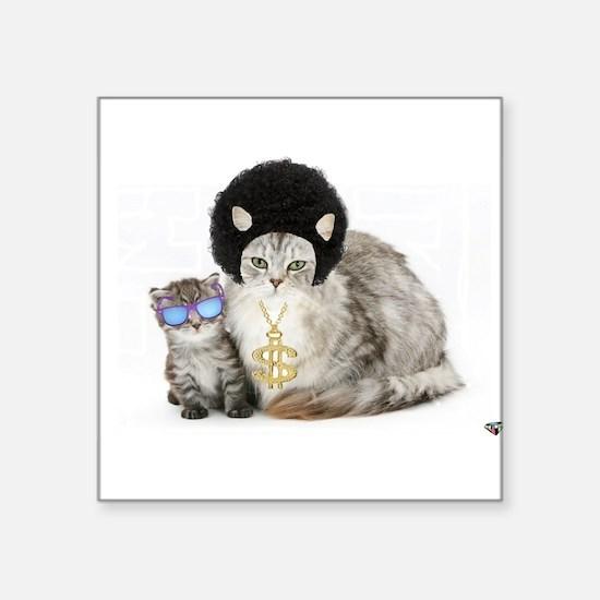 """Ghetto kitty Square Sticker 3"""" x 3"""""""