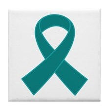 Teal Ribbon Awareness Tile Coaster