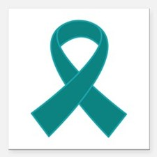 "Teal Ribbon Awareness Square Car Magnet 3"" x 3"""