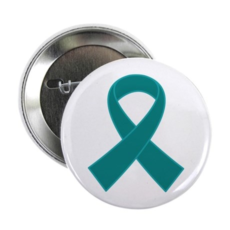 """Teal Ribbon Awareness 2.25"""" Button"""