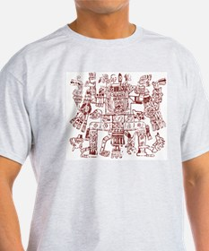Aztec Artwork Ash Grey T-Shirt