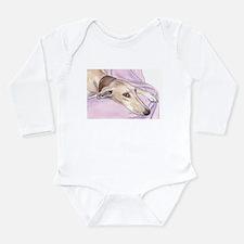 Lurcher on sofa Long Sleeve Infant Bodysuit