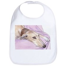 Lurcher on sofa Bib