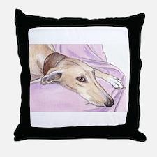 Lurcher on sofa Throw Pillow