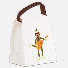 Sock Monkey Acoustic Guitar Canvas Lunch Bag