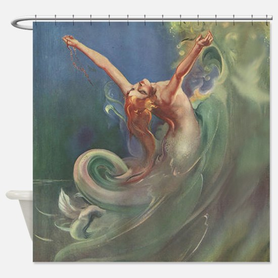 Vintage Mermaid Art Shower Curtain