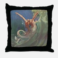 Vintage 1930s Mermaid Throw Pillow