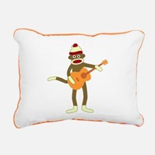 Sock Monkey Acoustic Guitar Canvas Pillow
