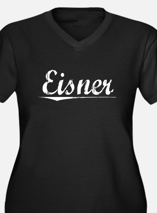 Eisner, Vintage Women's Plus Size V-Neck Dark T-Sh