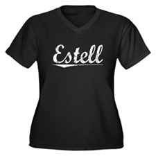 Estell, Vintage Women's Plus Size V-Neck Dark T-Sh