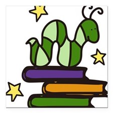 """Books And Worm Square Car Magnet 3"""" x 3"""""""