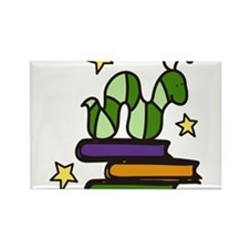Books And Worm Rectangle Magnet
