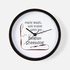 Belgian Sheepdog Travel Leash Wall Clock