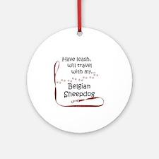 Belgian Sheepdog Travel Leash Ornament (Round)