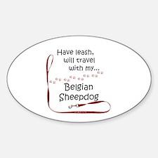 Belgian Sheepdog Travel Leash Oval Decal
