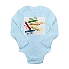 Colored Crayons Long Sleeve Infant Bodysuit