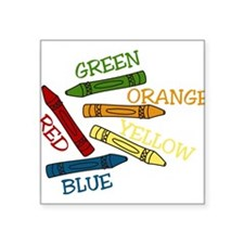 """Colored Crayons Square Sticker 3"""" x 3"""""""