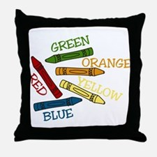 Colored Crayons Throw Pillow