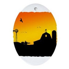 Morning of the Farm Ornament (Oval)