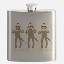 No Evil Sock Monkeys Flask