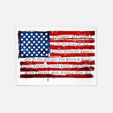 Patriotic Pledge of Allegiance USA 5'x7'Area Rug