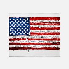 Patriotic Pledge of Allegiance USA F Throw Blanket