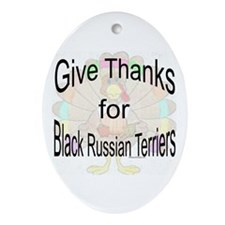 Thanks for Black Russian Oval Ornament