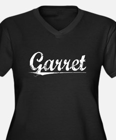 Garret, Vintage Women's Plus Size V-Neck Dark T-Sh
