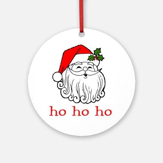 Santa Face - Ho Ho Ho  Ornament (Round)