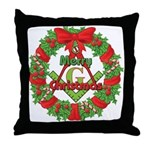 Masonic Christmas Wreath Throw Pillow