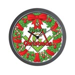 Masonic Christmas Wreath Wall Clock
