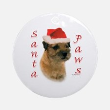 Santa Paws Border Terrier Ornament (Round)