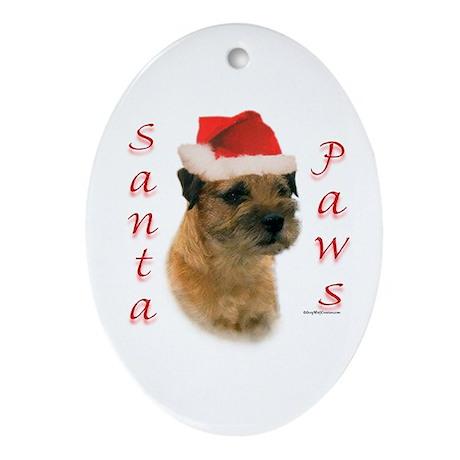 Santa Paws Border Terrier Oval Ornament
