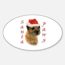 Santa Paws Border Terrier Oval Decal