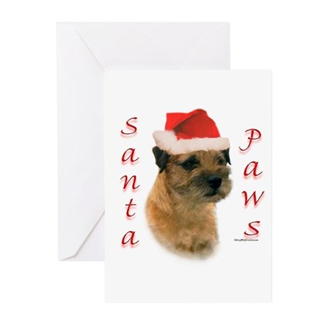 Santa Paws Border Terrier Greeting Cards (Package