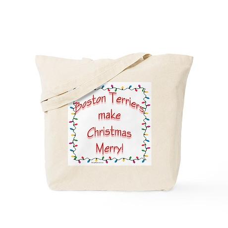 Merry Boston Terrier Tote Bag