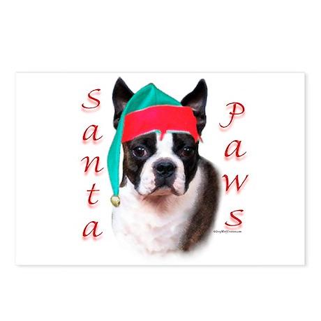 Santa Paws Boston Terrier Postcards (Package of 8)