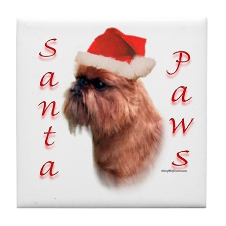 Santa Paws Brussels Griffon Tile Coaster