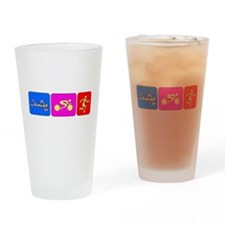 Triathlon Color Figures Bumper Drinking Glass