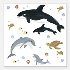 "Ocean Animal Square Car Magnet 3"" x 3"""
