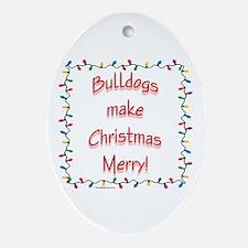 Merry Bulldog Oval Ornament