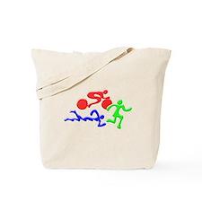 Triathlon Color Figures 3D Tote Bag