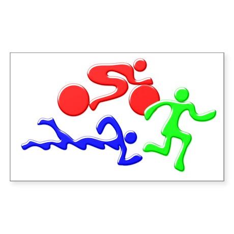 Triathlon Color Figures 3D Sticker (Rectangle)
