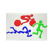 Triathlon Color Figures 3D Rectangle Magnet