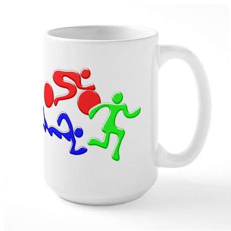 Triathlon Color Figures 3D Large Mug