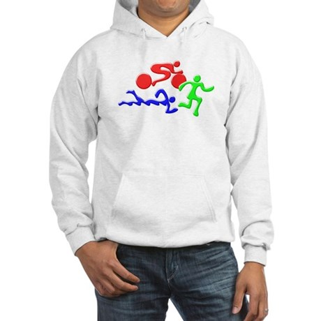 Triathlon Color Figures 3D Hooded Sweatshirt